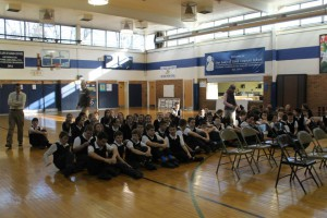 School students group in gym